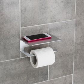 Держатель для туалетной бумаги с полочкой 6,5×16×11,5 см, алюминий