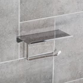Держатель для туалетной бумаги с полочкой 7,5×18×10 см, нержавеющая сталь