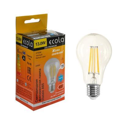 Лампа светодиодная филаментная Ecola classic Premium, А65, 13 Вт, Е27, 2700 К, 360°, 220 В