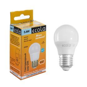 "Лампа светодиодная Ecola globe ""шар"", G45, 5,4 Вт, Е27, 6500 К, 220 В, 82х45 мм"