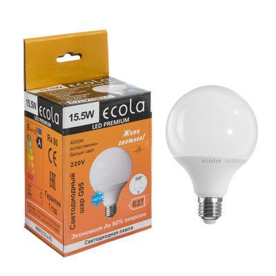 "Лампа светодиодная Ecola globe Premium ""шар"", G95, 15.5 Вт, Е27, 4000 К, 320°, 220 В, 135х9"