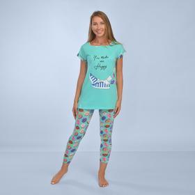 Комплект женский (леггинсы, футболка) «Иветта» цвет ментоловый, размер 44