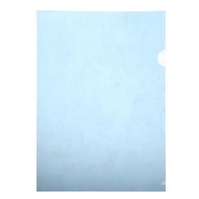 Папка-уголок A4, 100мкм прозрачная, тиснение, синяя Ош