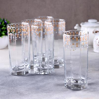 Набор стаканов GiDGLASS «Абстракция золото-серебро», 380 мл, 6 шт