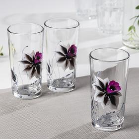 Набор стаканов GiDGLASS «Нарцисс абстракция», 230 мл, 3 шт, в подарочной упаковке