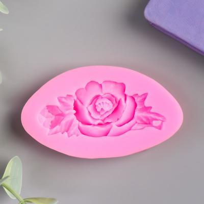 """Молд силикон """"Роза с листьями"""" 1,5х7,5х4,2 см - Фото 1"""