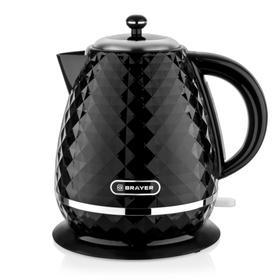 Чайник электрический BRAYER 1008BR-BK, пластик, 1.7 л, 2200 Вт, автоотключение, чёрный
