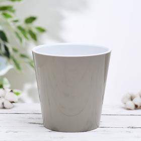Кашпо со вставкой «Деко», 1,1 л, цвет какао-белый