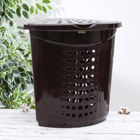 Корзина для белья угловая с крышкой 45 л, 55×43×55 см, цвет тёмно-коричневый