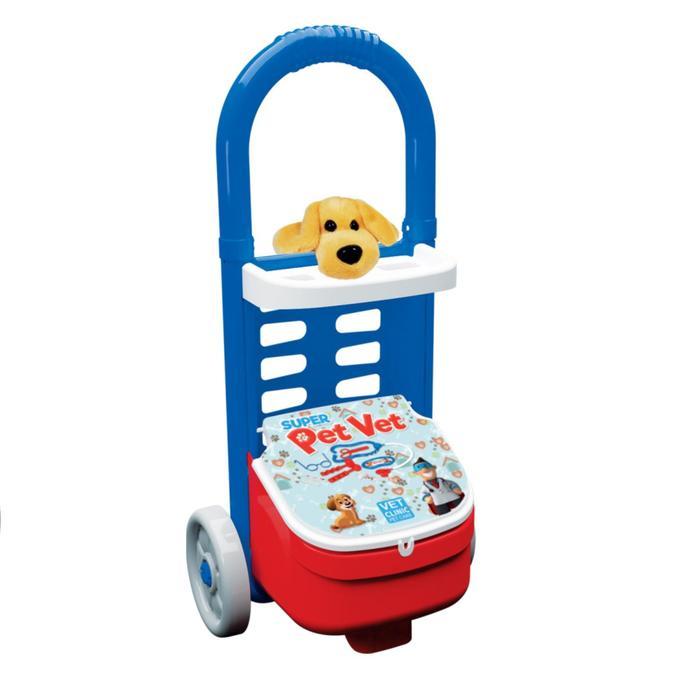 Большой набор «Ветеринар», тележка на колесиках, 11 предметов и собака