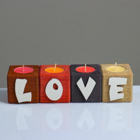 """Подсвечник для интерьера 4 шт с надписью LOVE, цвет: """"Микс"""", аромат: ягодно-фруктовый микс"""
