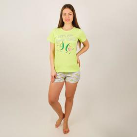 Комплект женский (футболка, шорты), цвет микс, размер 46