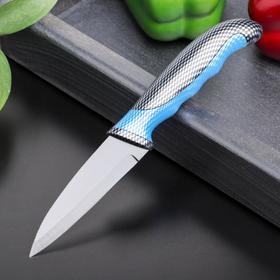 Нож с антиналипающим покрытием Доляна «Титанум», лезвие 9 см, цвет чёрно-синий