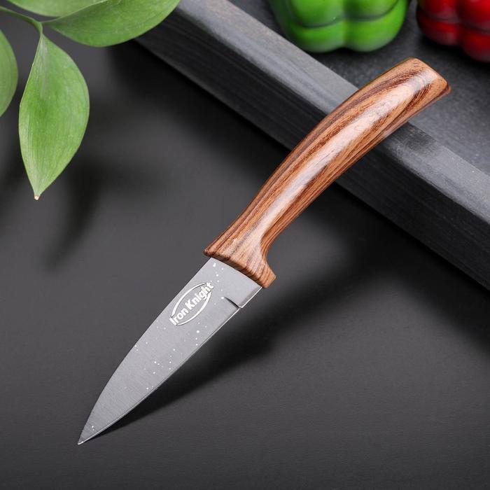 Нож с антиналипающим покрытием «Санктум», лезвие 8,5 см, цвет чёрно-коричневый