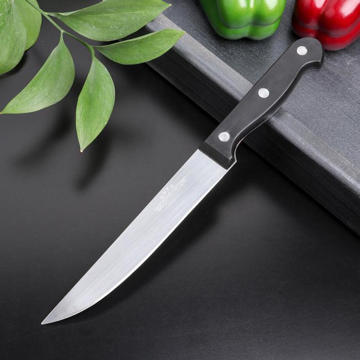 Нож кухонный «Брут», лезвие 15 см, цвет чёрный