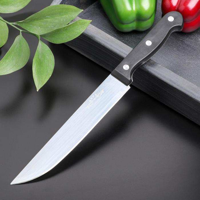 Нож кухонный «Брут», лезвие 17,5 см, цвет чёрный