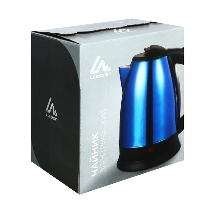 Чайник электрический LuazON LSK-1804, 1500 Вт, 1.8 л, металл, синий