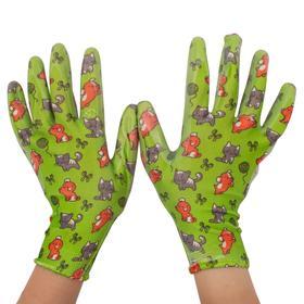 Перчатки полиэстер, размер 8, с нитриловым покрытием, «Пушистики»