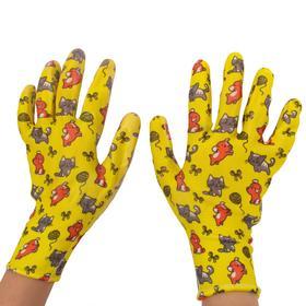 Перчатки полиэстер, размер 9, с нитриловым покрытием, «Пушистики»