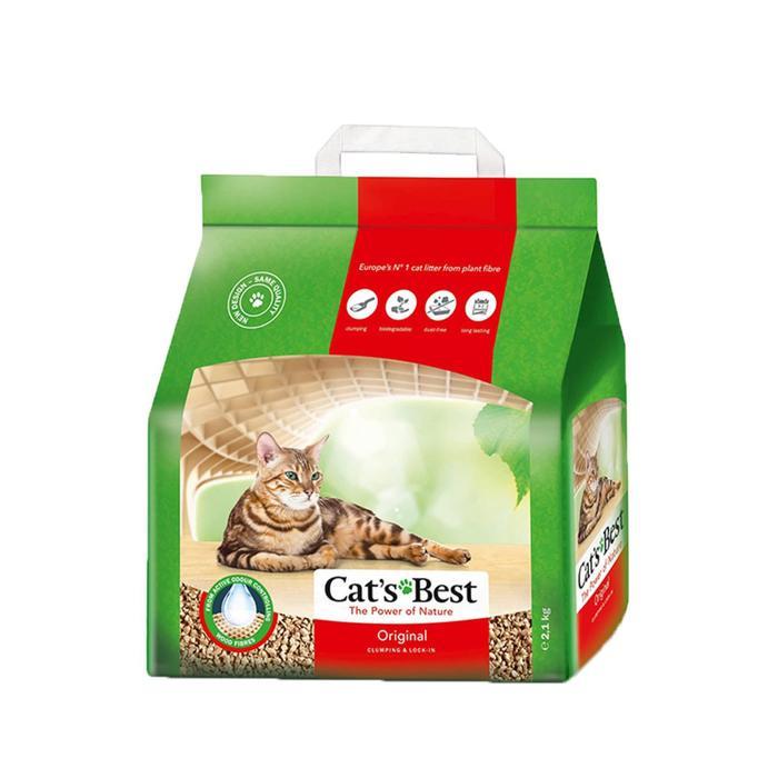 Наполнитель древесный комкующийся Cat's Best Original 5 л, 2,1 кг