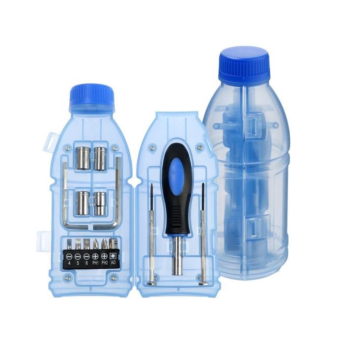 Набор инструментов TUNDRA, подарочный пластиковый кейс Бутылка, 15 предметов