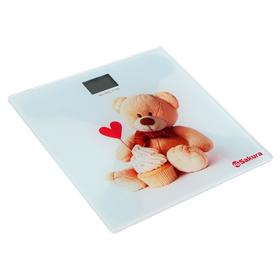 "Весы напольные Sakura SA-5071BR, электронные, до 180 кг, 1хCR2032, стекло, ""медвежонок"""