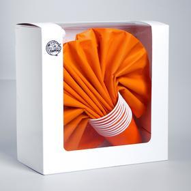 Набор бумажной посуды «Оранжевый», 10 стаканов, 10 тарелок, 50 салфеток, скатерть