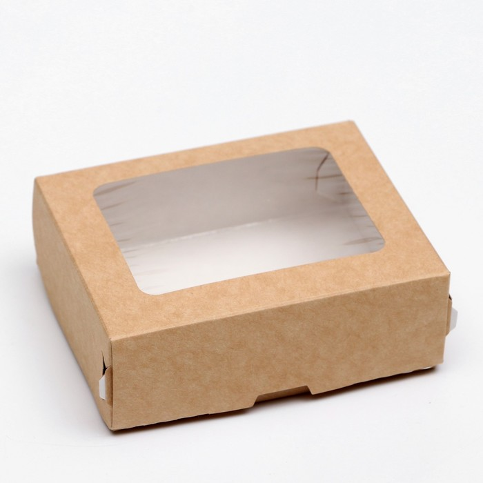 Контейнер на вынос, с окном, крафт, 10 х 8 х 3,5 см