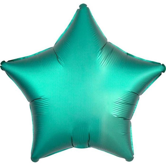 Шар фольгированный 18 Звезда, сатин люкс, цвет бирюза