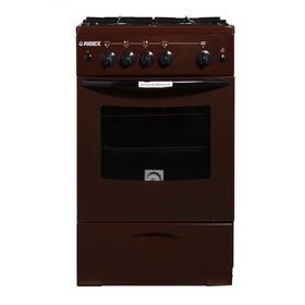 Плита REEX CG-54 eBn, газовая, 4 конфорки, 60 л, газовая духовка, газ-контроль, коричневая Ош