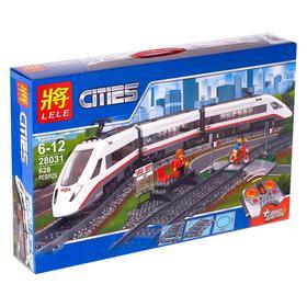 Конструктор радиоуправляемый «Скорый поезд», работает от батареек, ездит по рельсам, 628 деталей