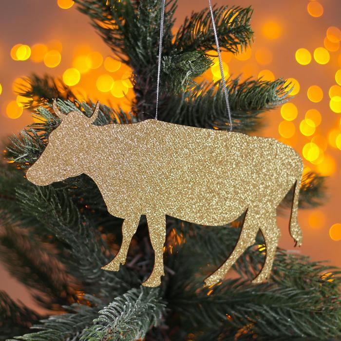 Новогодняя подвеска Коровка золото, серебро 0,2х20х10,5 см