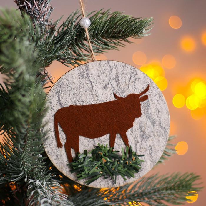 Новогодняя подвеска Коровка и бык с ёлочкой 0,2х12х12 см
