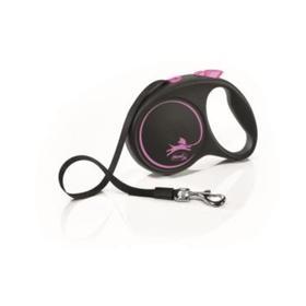 Рулетка Flexi Black Design M (до 25 кг) 5 м лента, черный/розовый