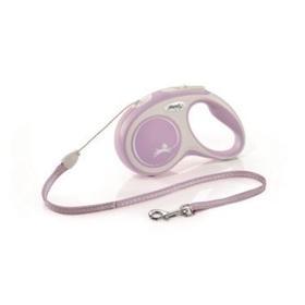 Рулетка Flexi NEW LINE Comfort S (до 12 кг) трос, 5 м серый/розовый