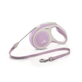 Рулетка Flexi NEW LINE Comfort М (до 20 кг) трос, 5 м серый/розовый