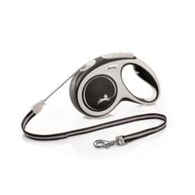 Рулетка Flexi NEW LINE Comfort М (до 20 кг) трос, 5 м серый/черный