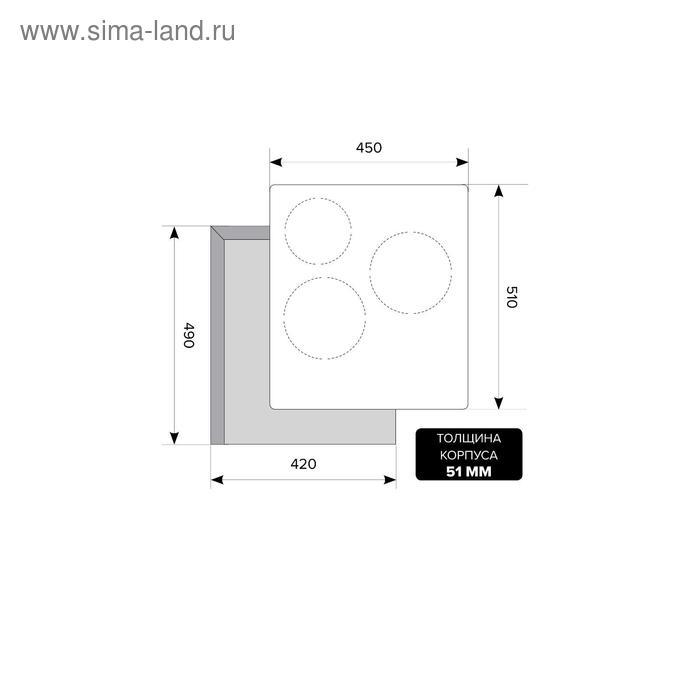 Варочная поверхность Lex EVI 430 BL, индукционная, 3 конфорки, чёрная