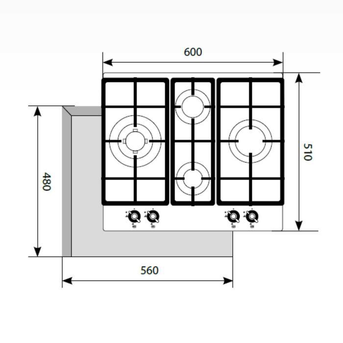 Варочная поверхность Lex GVE 643 C IV(В), газовая, 4 конфорки, бежевая