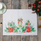 """Салфетки на стол """"Christmas red flowers"""" 30х40см, 100% п/э, оксфорд 420 г/м2"""