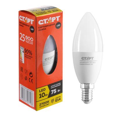 """Лампа светодиодная """"Старт"""" Эко, Свеча, E14, 10 Вт, 2700 K, 230 В, теплый белый - Фото 1"""
