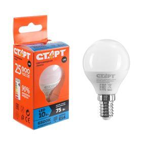 """Лампа светодиодная """"Старт"""" Эко, Шар, E14, 10 Вт, 6500 K, 230 В, холодный белый"""