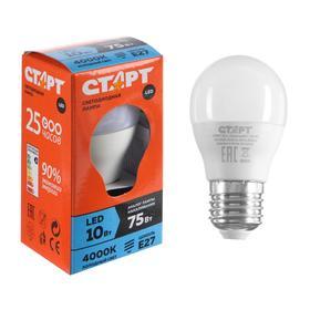 """Лампа светодиодная """"Старт"""" Эко, Шар, E27, 10 Вт, 4000 K, 230 В, дневной белый"""