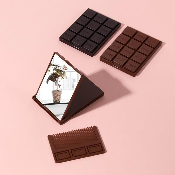 Зеркало складное Шоколадное чудо, с расчёской, МИКС