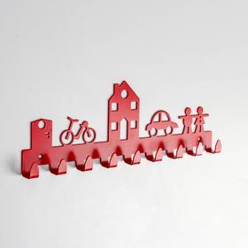 Вешалка настенная на 9 крючков «Город», цвет красный