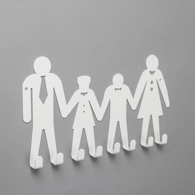 Вешалка настенная на 8 крючков посуда «Семья», цвет белый - Фото 1