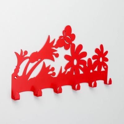 Вешалка настенная на 6 крючков «Цветочная поляна», цвет красный - Фото 1