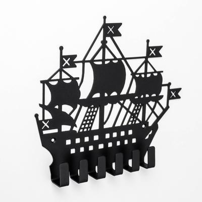 Вешалка-ключница на 6 крючков посуда «Корабль», цвет чёрный - Фото 1
