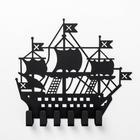 Вешалка-ключница на 6 крючков посуда «Корабль», цвет чёрный - Фото 3
