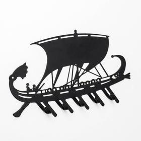 Вешалка-ключница на 5 крючков «Галера», цвет чёрный